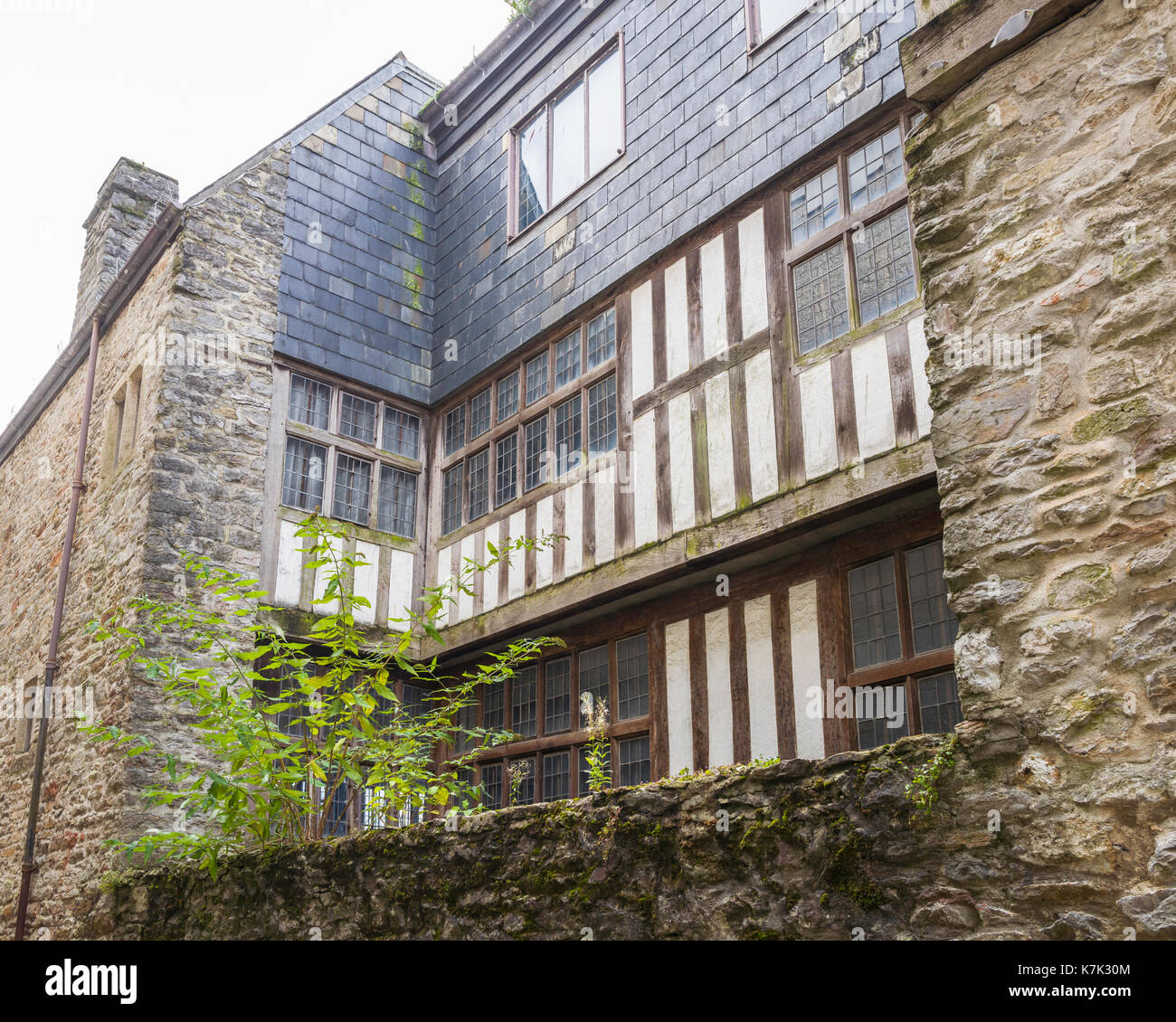 The 16th/17th century Merchant's House Museum in the historic Barbican area of Plymouth, Devon, UK - Stock Image