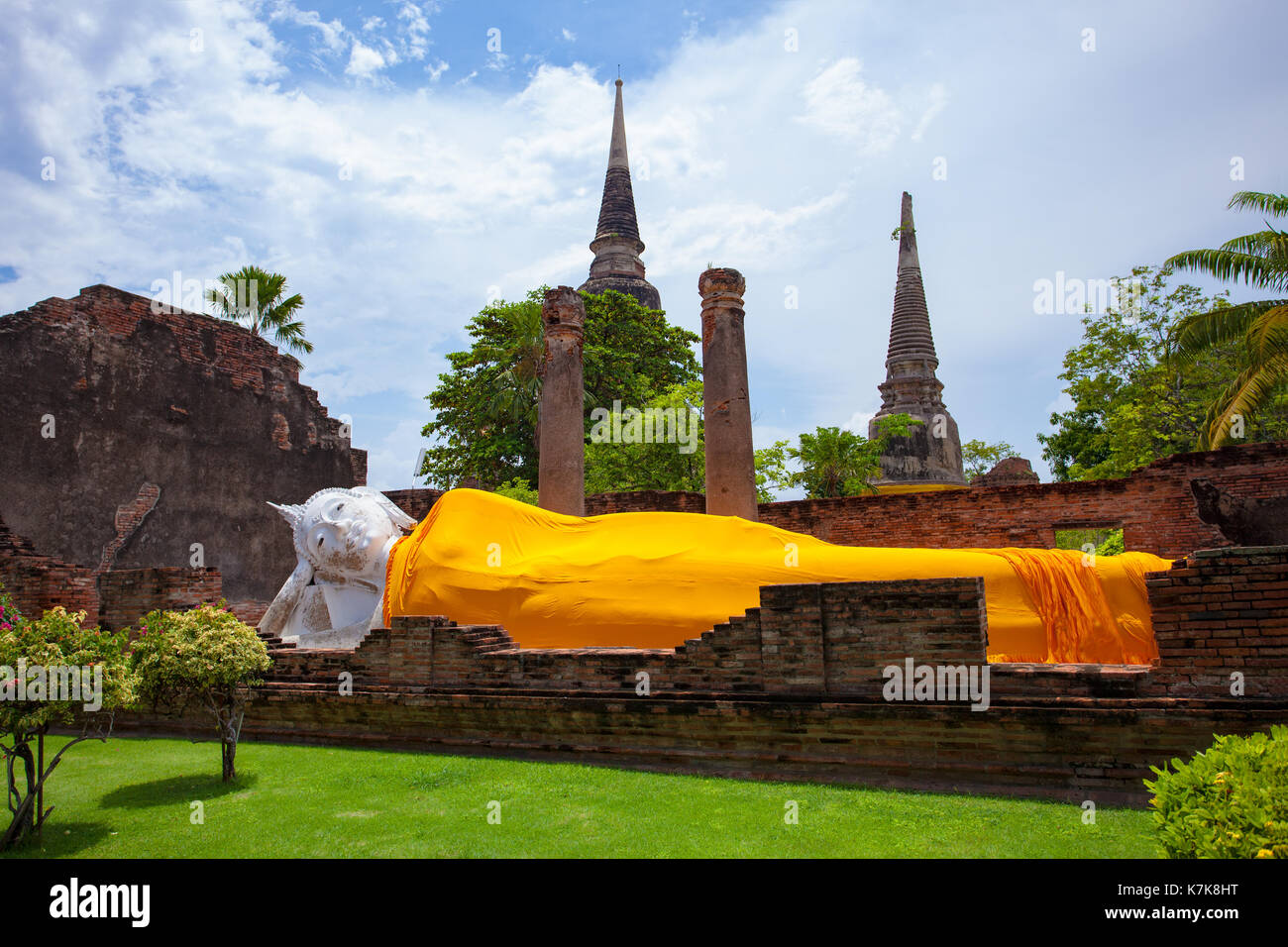 reclinning buddha statue un wat yai chai mongkol temple ayutthaya world heritage site of unesco central of thailand - Stock Image