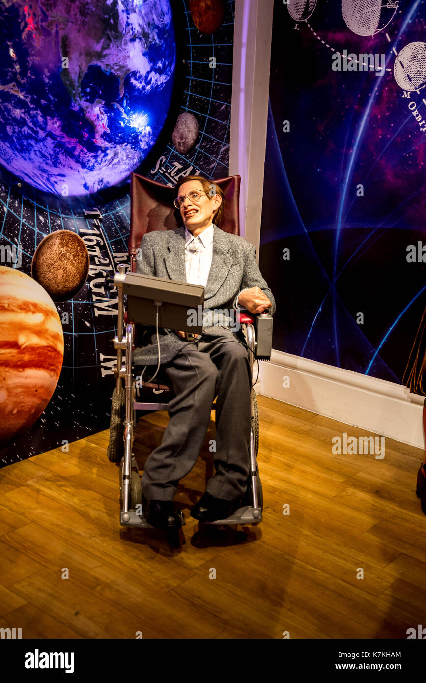 Stephen Hawking wax figure in Madame Tussaud museum in London, Great Britain - Stock Image