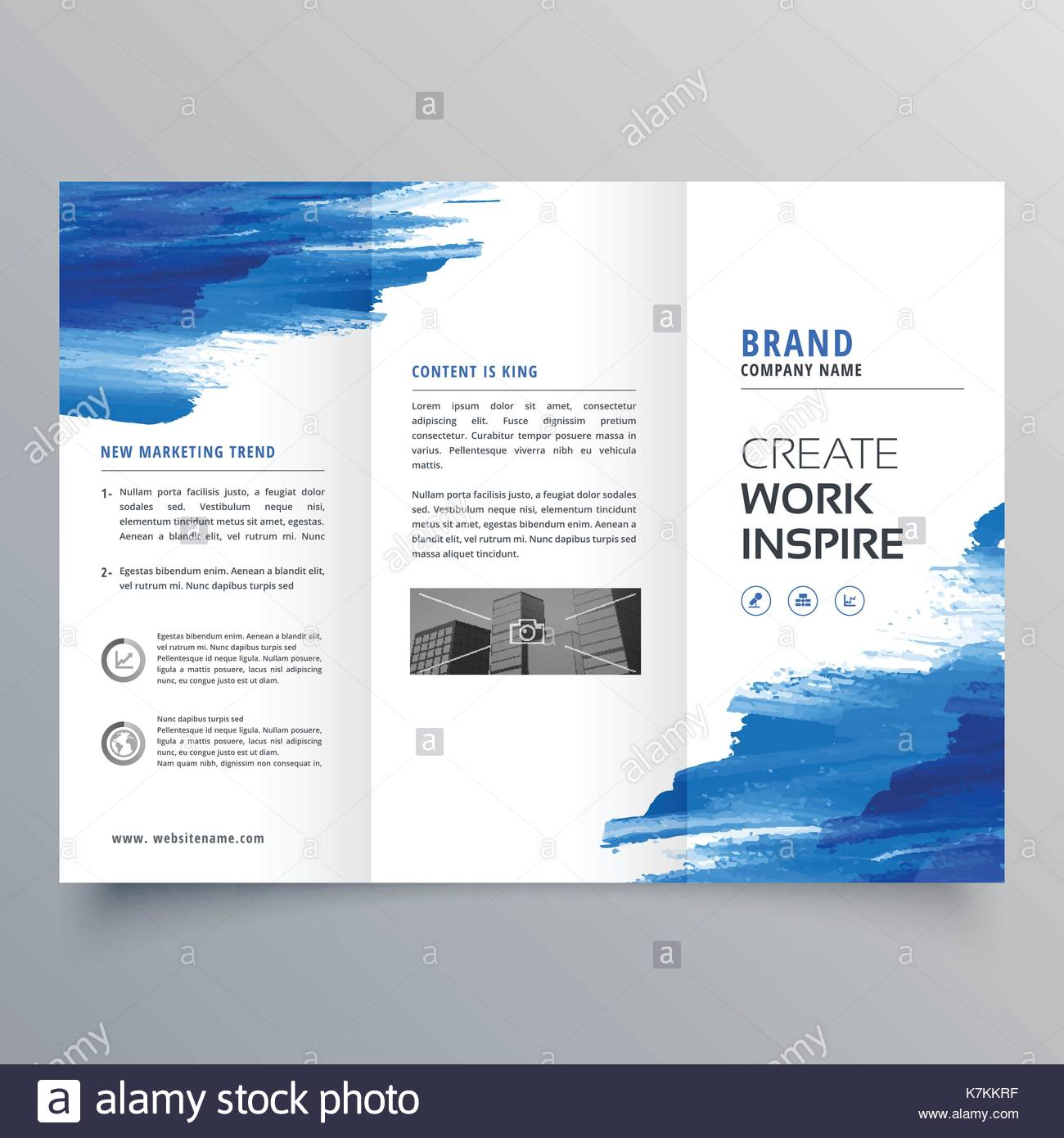 abstract watercolor business trifold brochure design template stock