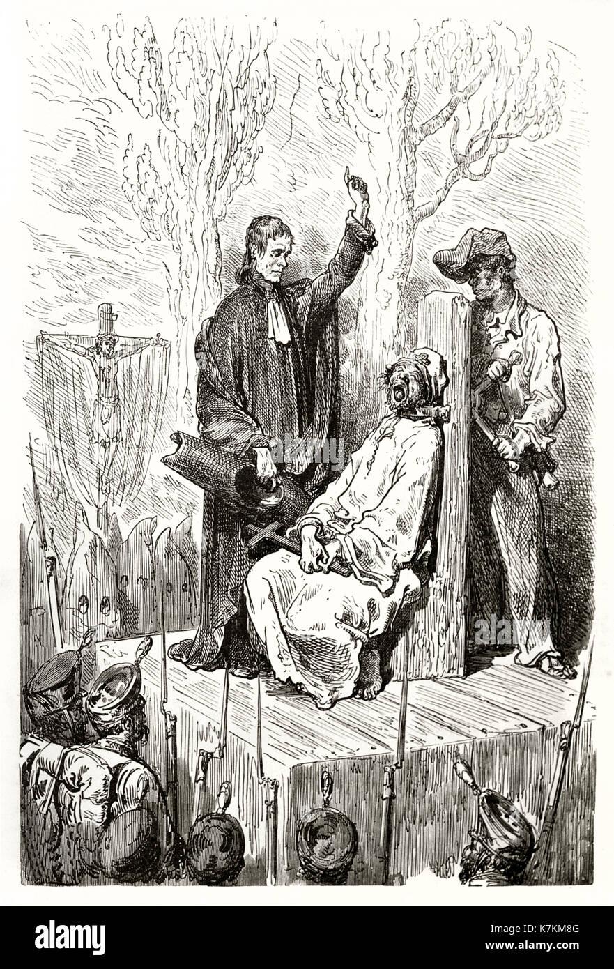 Old illustration depicting death penalty by garrote in Spain. By Dore, publ. on Le Tour du Monde, Paris, 1862 - Stock Image