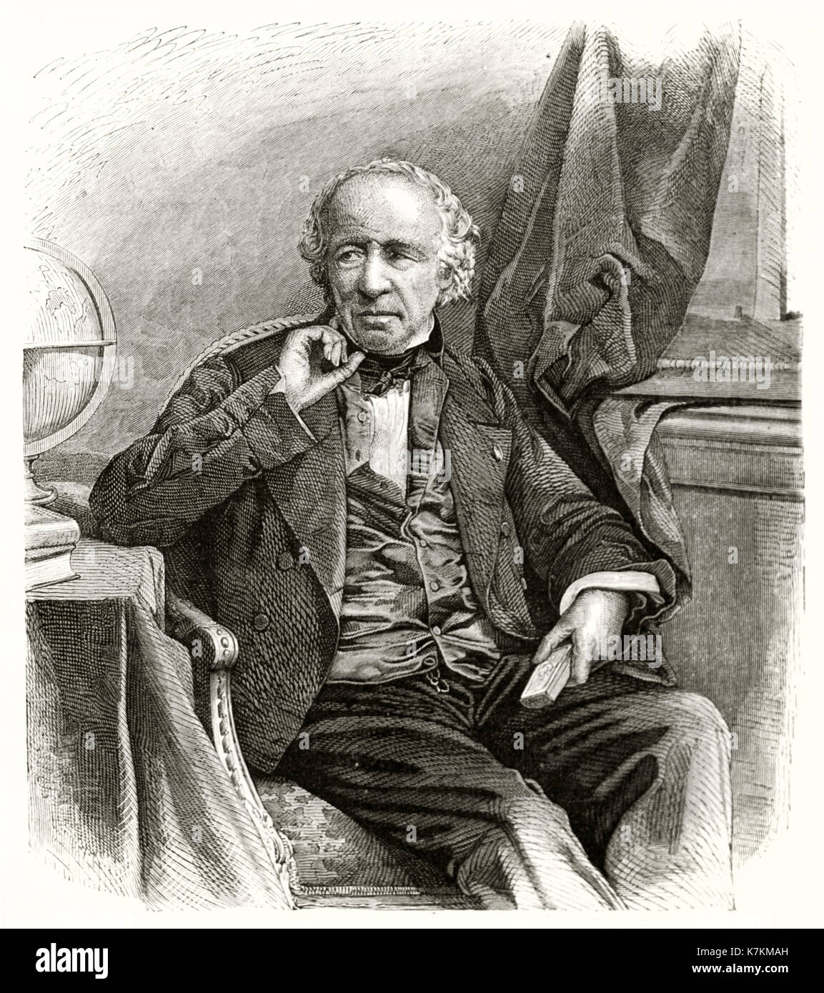 Edme Francois Jomard (1777 – 1862), French engineer, geographer and archaeologist. By Rousseau after Salomon, publ. on Le Tour du Monde, Paris, 1862 - Stock Image