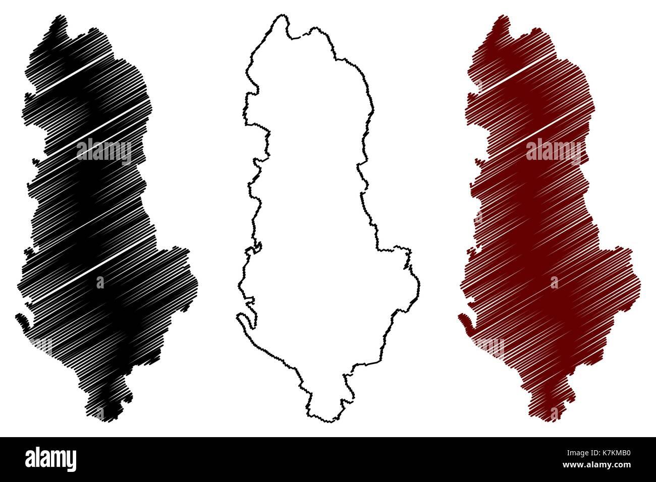 Albania map vector illustration, scribble sketch Albania - Stock Vector