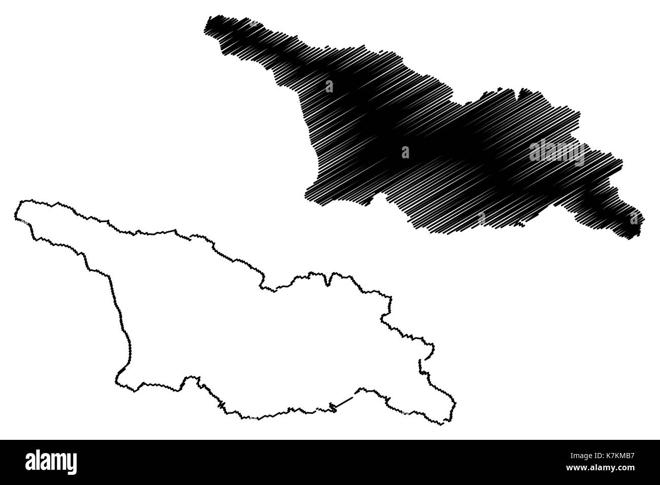 Georgia map vector illustration, scribble sketch Georgian - Stock Image