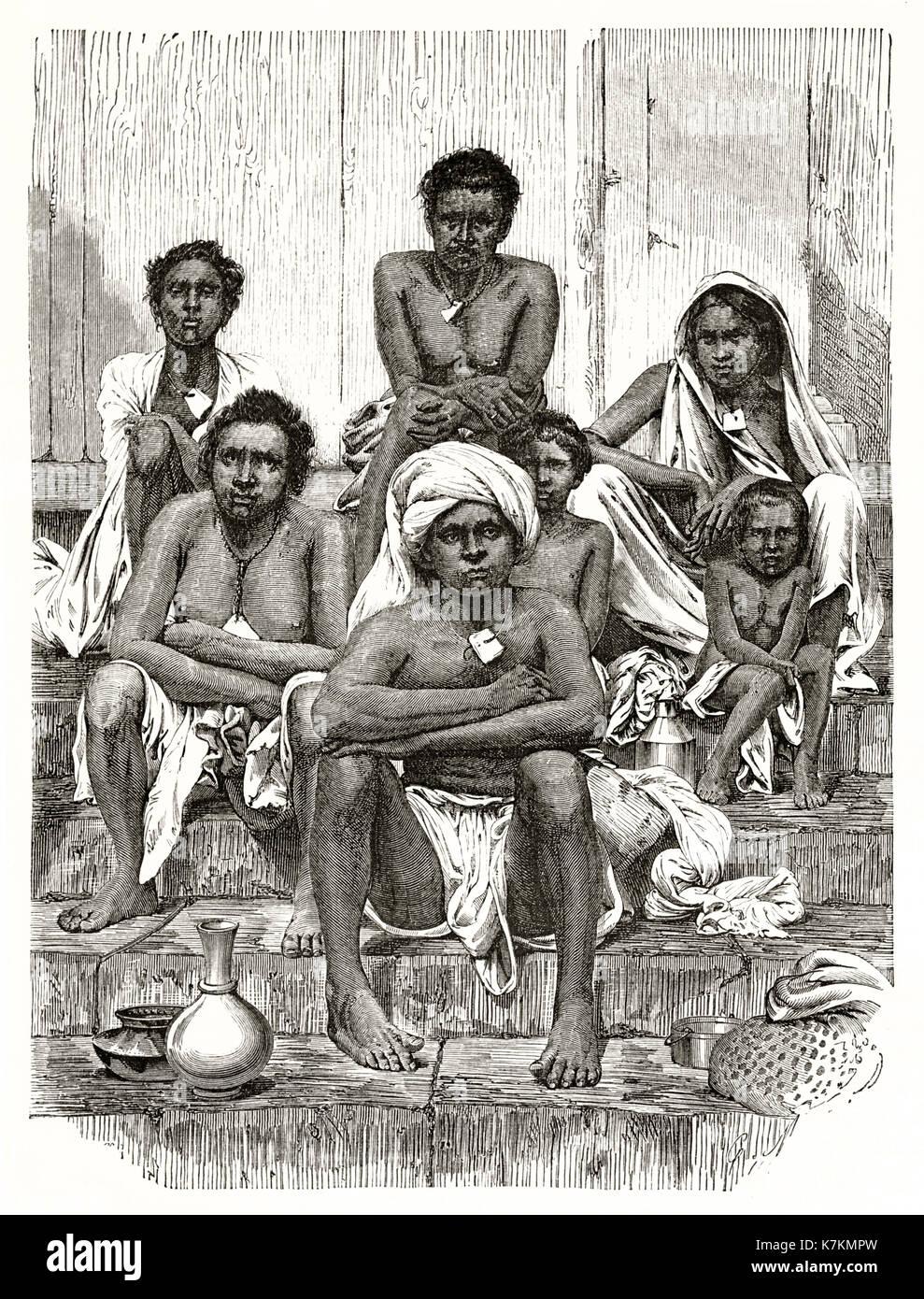 Old illustration depicting Reunion island indigenous. By Mettais after Bevan, publ. on Le Tour du Monde, Paris, 1862 - Stock Image