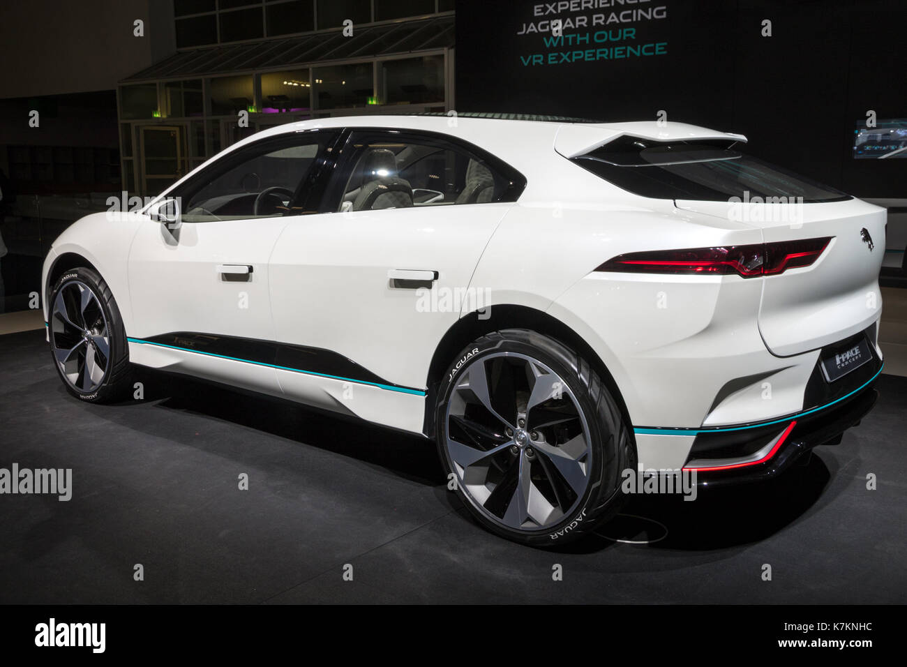 FRANKFURT, GERMANY   SEP 12, 2017: New 2018 Jaguar I Pace Concept Electric  SUV Car Showcased At The Frankfurt IAA Motor Show 2017.