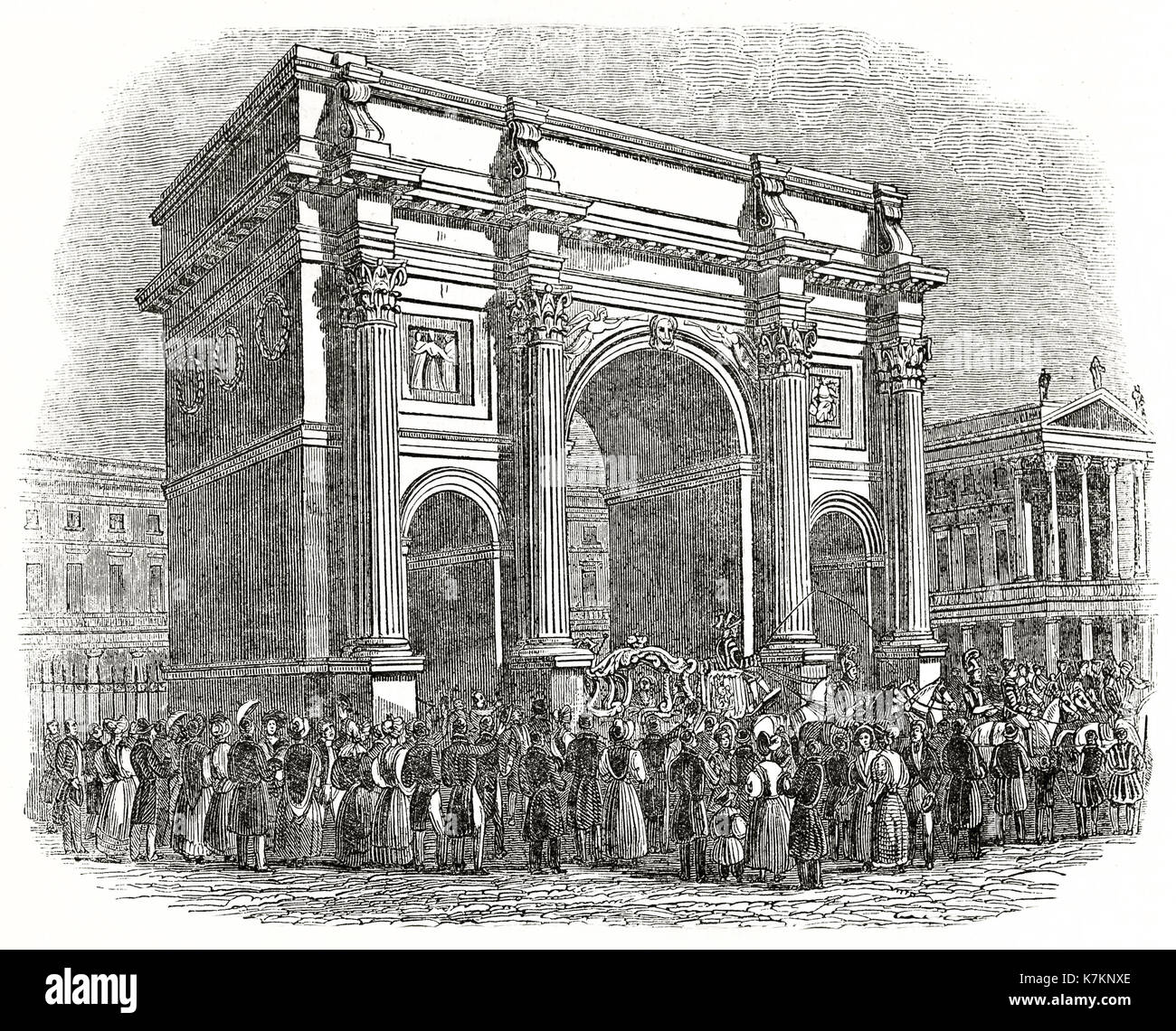 Old view of the Marble Arch, London. By unidentified author, publ. on The Penny Magazine, London, 1837 - Stock Image