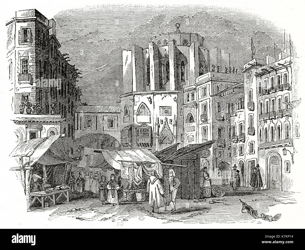 Old view of Santa Maria del Mar church, Barcelona, Spain By unidentified author, publ. on The Penny Magazine, London, 1837 - Stock Image