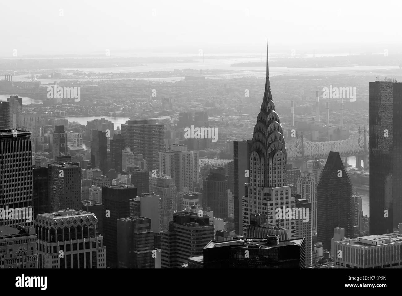 Chrysler Building and city skyline aerial view in black and white in New York - Stock Image