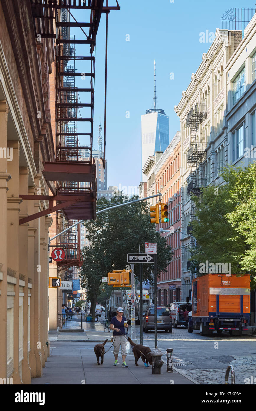 Soho street with person with dogs and One World Trade Center view in the morning in New York - Stock Image