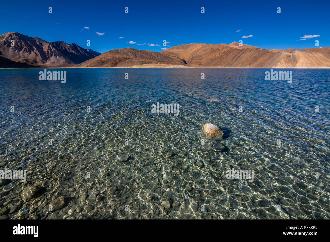 The Beauty of Pangong Lake - an endorheic lake in the Himalayas situated at a height of about 4,350 m (14,270 ft) Stock Photo