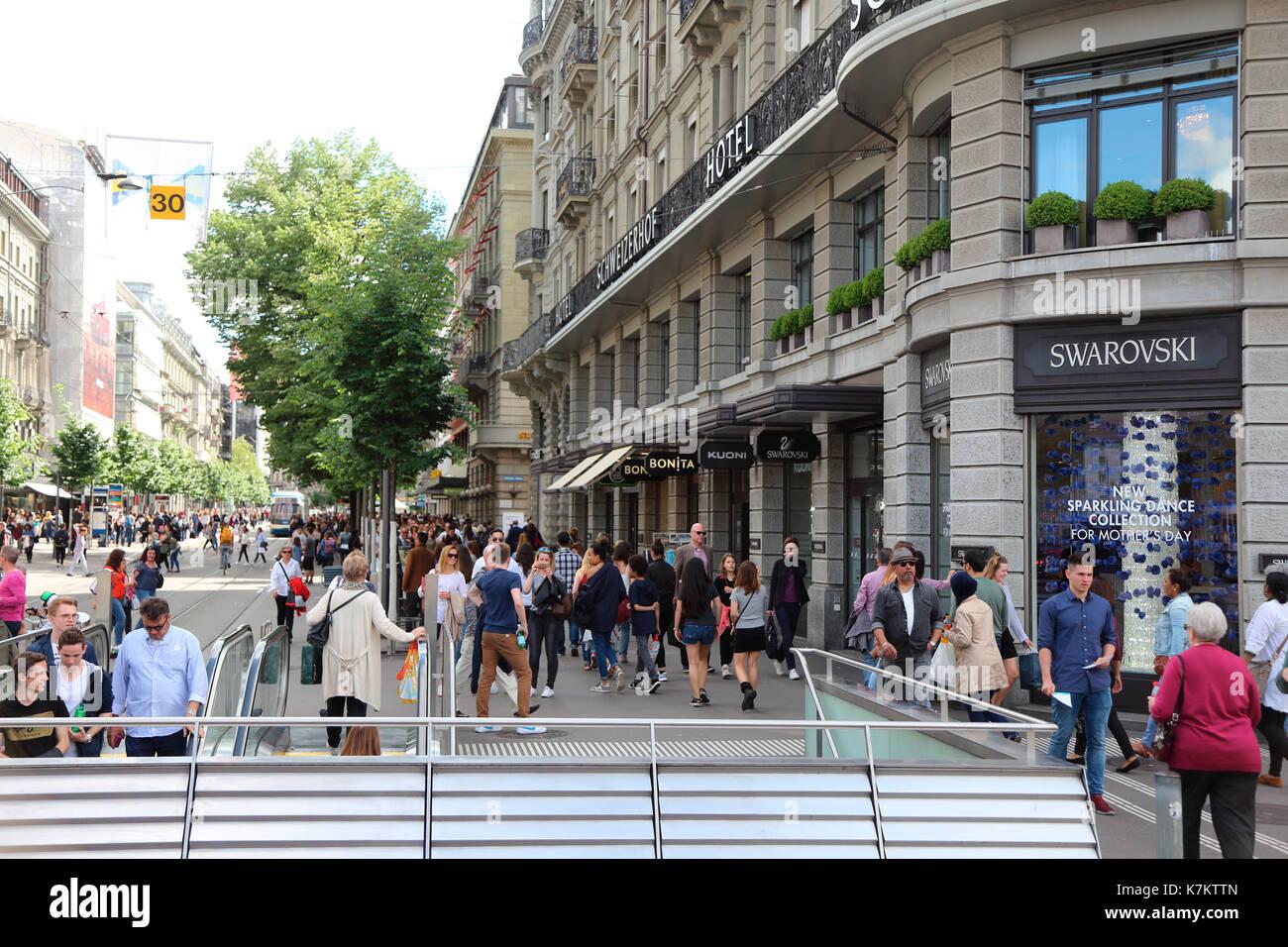 Switzerland Zurich Bahnhofstrasse - Stock Image