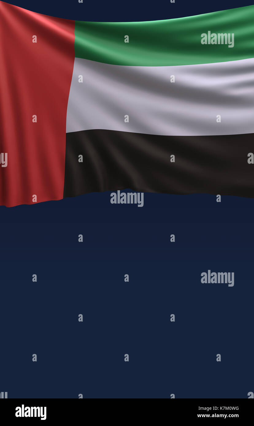 Flag United Arab Emirates Colors, UAE Flag (3D Render) Stock Photo