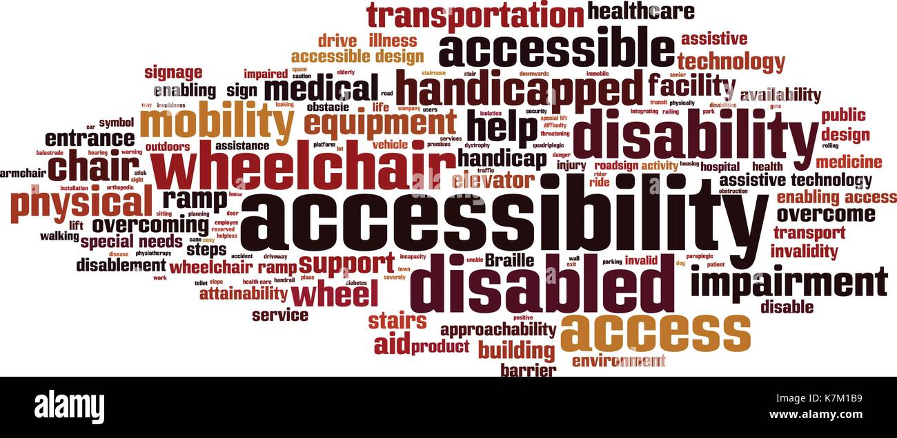 Accessibility word cloud concept. Vector illustration - Stock Image