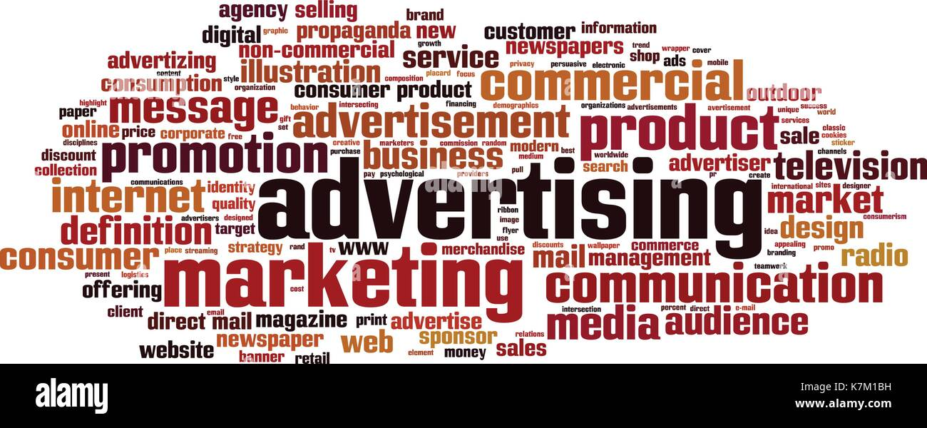 Advertising word cloud concept  Vector illustration Stock