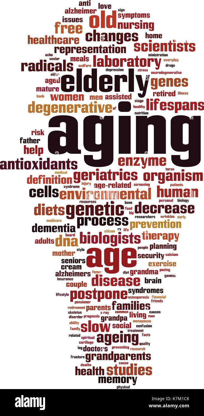 Aging word cloud concept. Vector illustration - Stock Vector