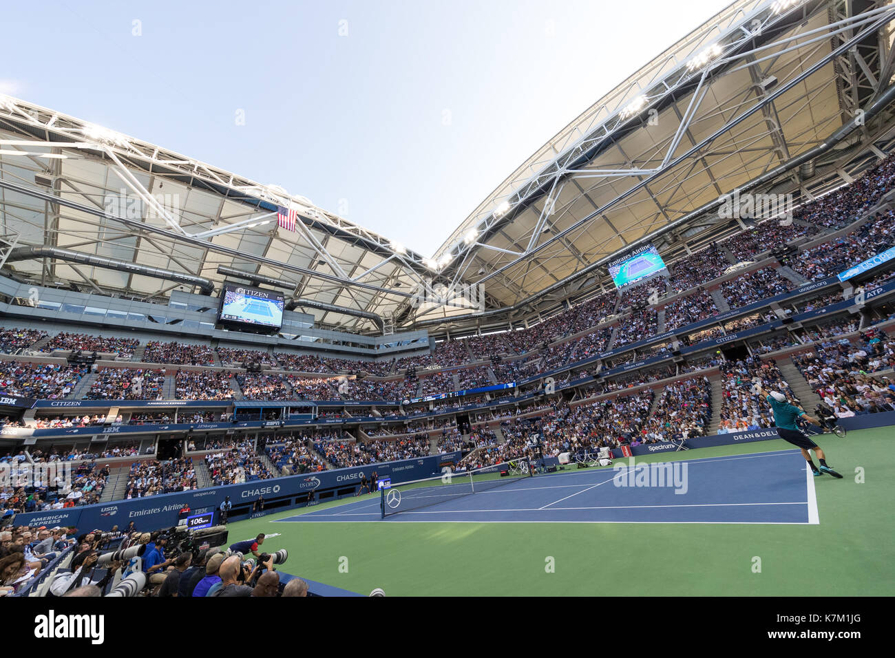Rafael Nadal (ESP) and Kevin Anderson (RSA)playing in the Men's Singles Final  at the 2017 US Open Tennis Championships - Stock Image