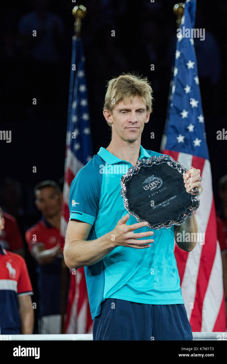 Kevin Anderson (RSA) runner up in the Men's Singles Final  at the 2017 US Open Tennis Championships Stock Photo