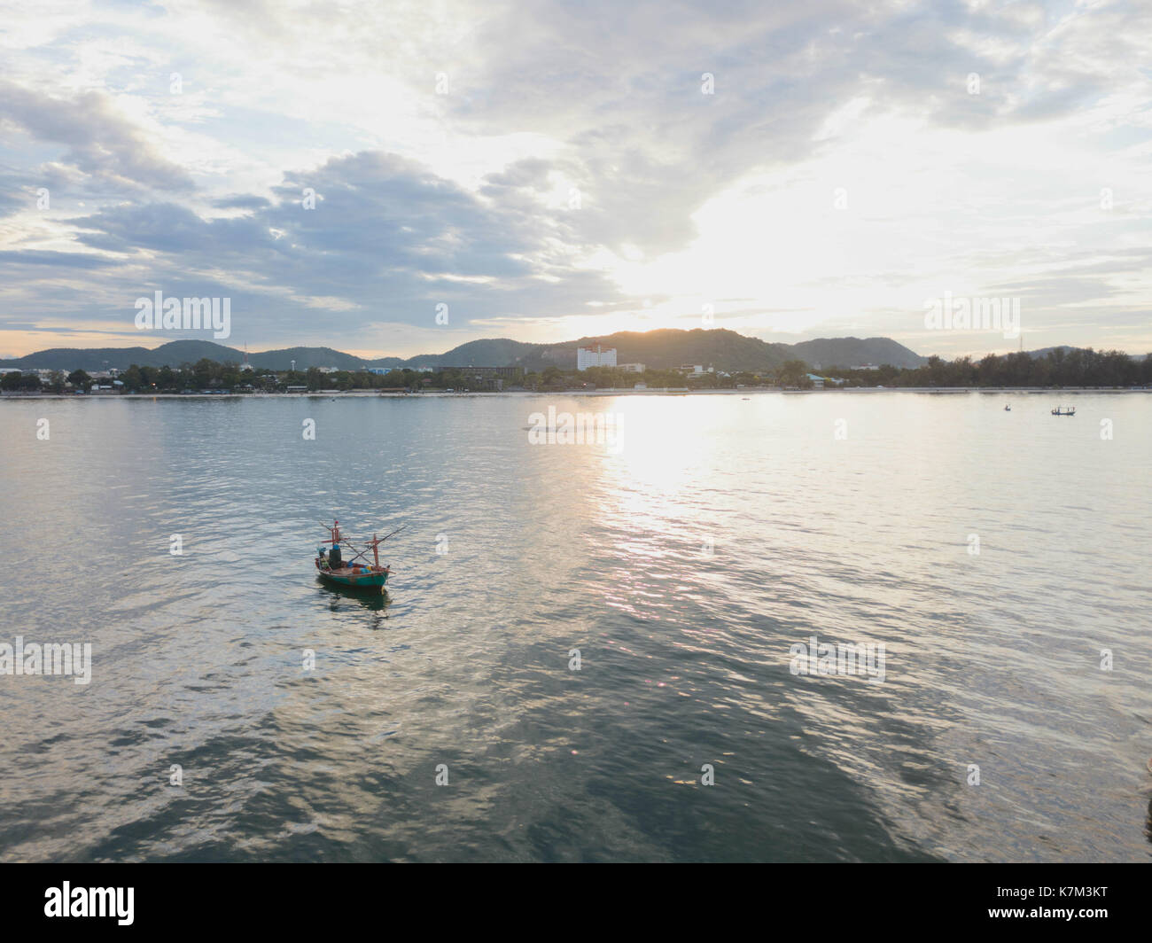 Drone Shot of a Thai Fishing Boat in Hua Hin - Stock Image
