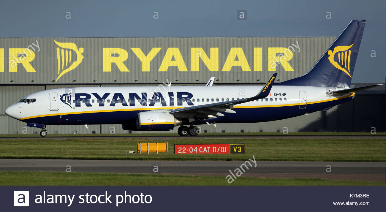 File photo dated 15/06/15 of a Ryanair plane at Stansted Airport. The budget airline has announced it will cancel up to 50 flights daily for the next six weeks in a bid to improve punctuality. - Stock Image