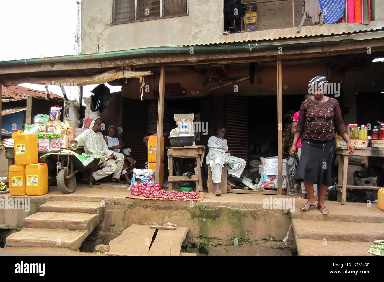 People selling different goods in the street in the city of Lagos, the largest city in Nigeria and the African conti - Stock Image