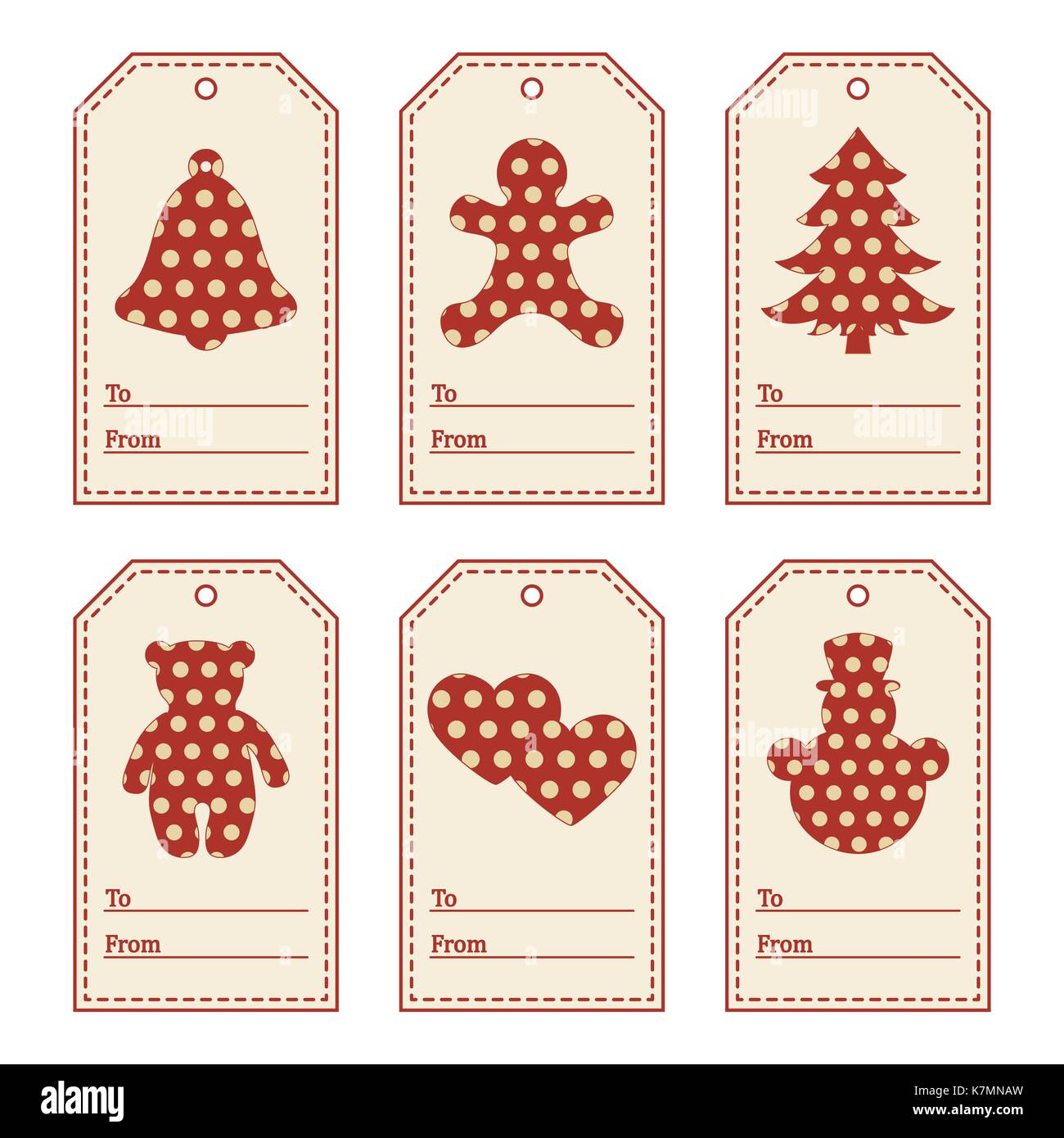 gift tags with new year and christmas symbols with polka dots and ribbon design for postcard banner poster or print