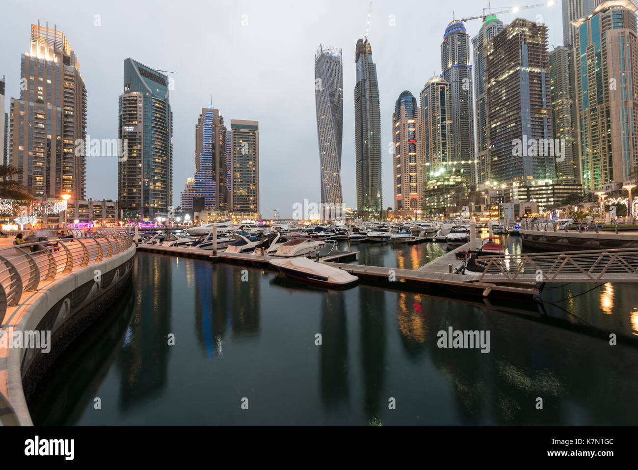 Marina, skyscraper at dusk, Dubai Marina, Dubai, United Arab Emirates - Stock Image