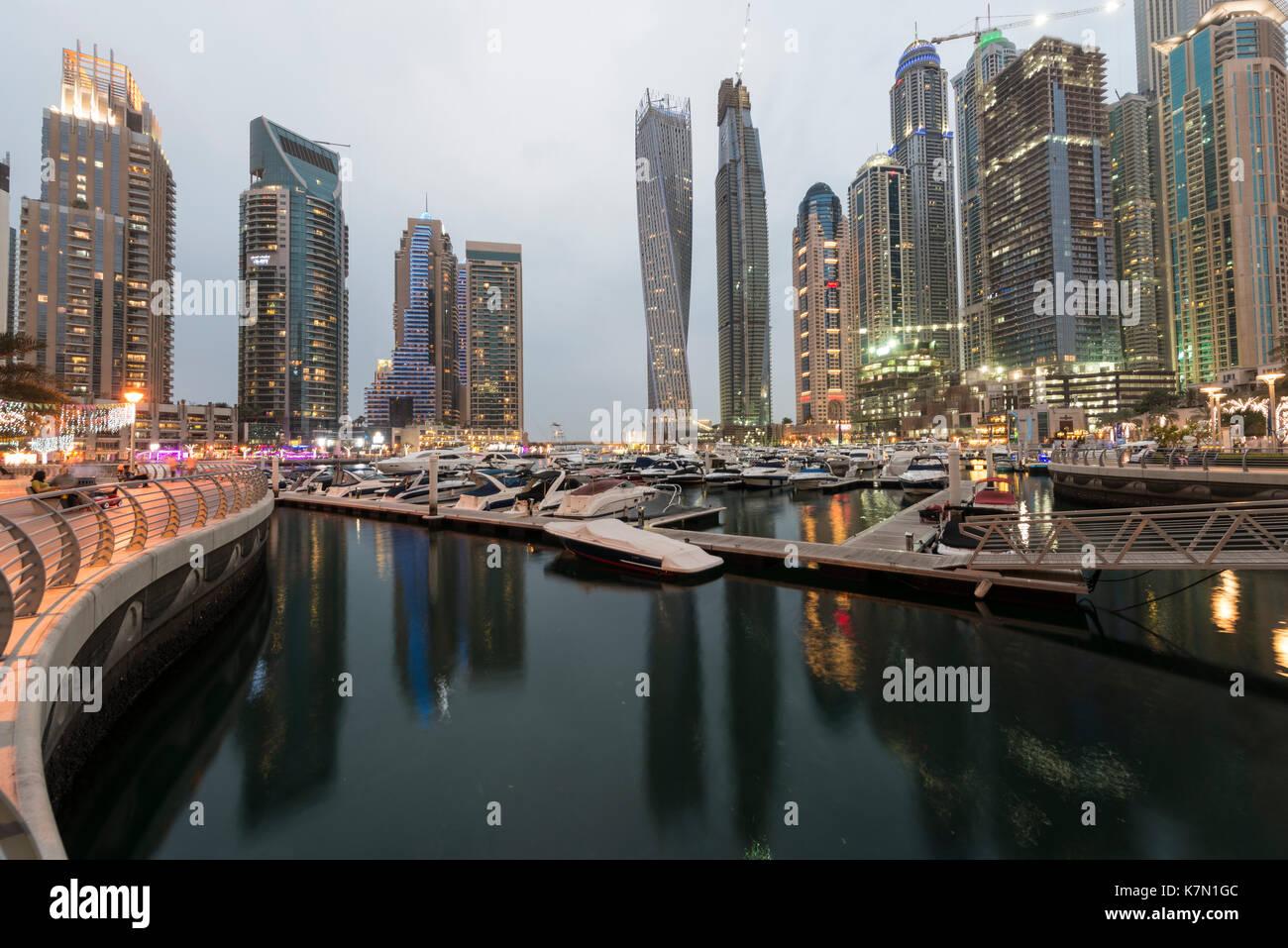 Marina, skyscraper at dusk, Dubai Marina, Dubai, United Arab Emirates - Stock Image