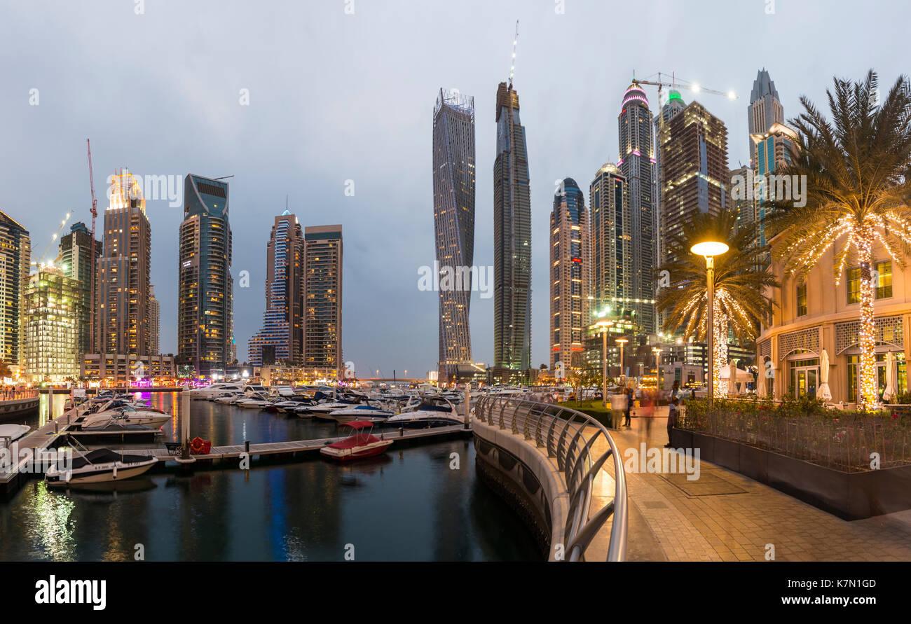 Marina, skyscrapers at dusk, Dubai Marina, Dubai, United Arab Emirates - Stock Image