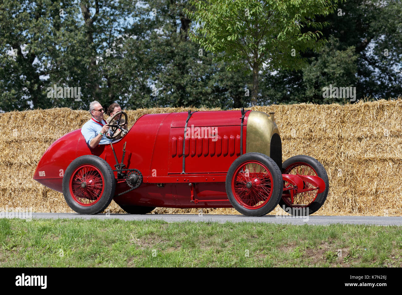 "Fiat S 76 on the circuit, ""The Beast of Turin"", world record car of 1911, Oldtimertreffen, Classic Days Schloss Stock Photo"