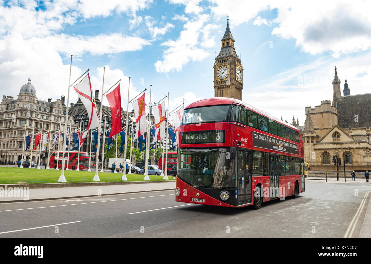 Red double-decker bus, Big Ben with Westminster Palace, London, England, Great Britain - Stock Image