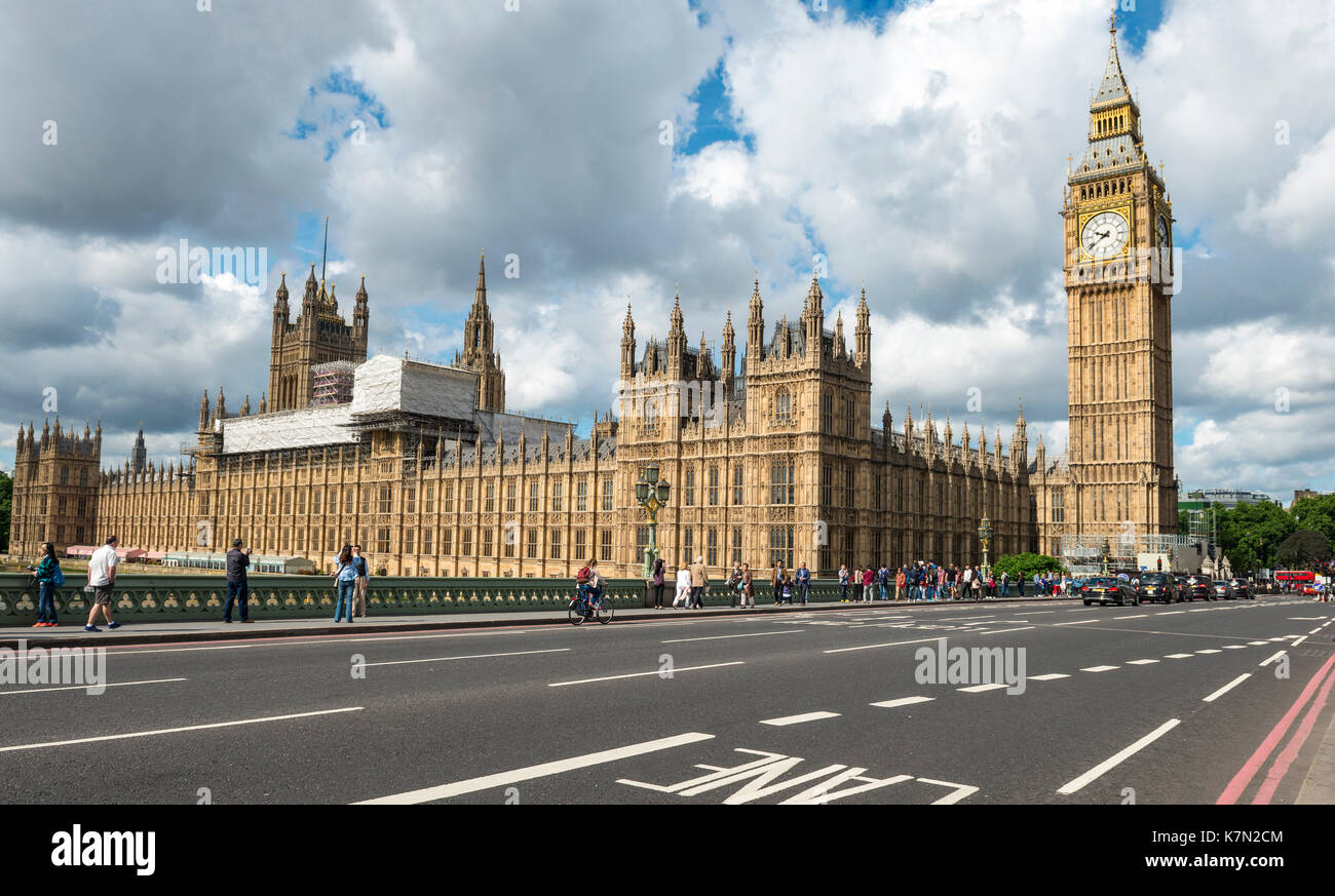 Westminster Palace with Big Ben, Westminster Bridge, London, England, Great Britain - Stock Image