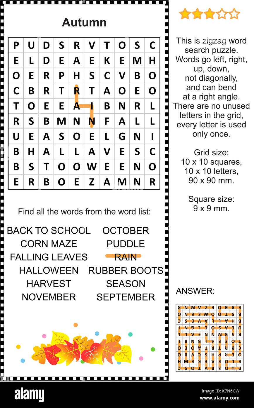 Autumn themed zigzag word search puzzle (suitable both for