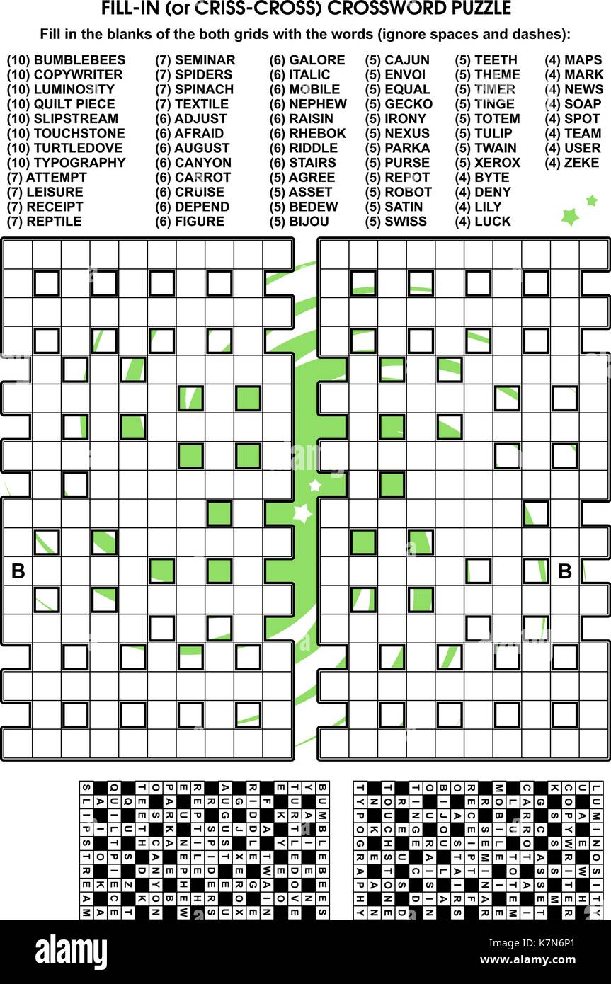Criss-cross word puzzle - fill in the blanks of the ...
