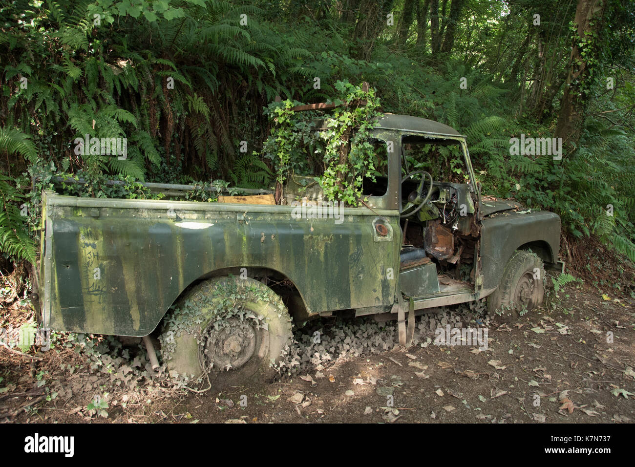 Land Rover Covered With Moss Stock Photos Defender 90 Pick Up Iconic Image
