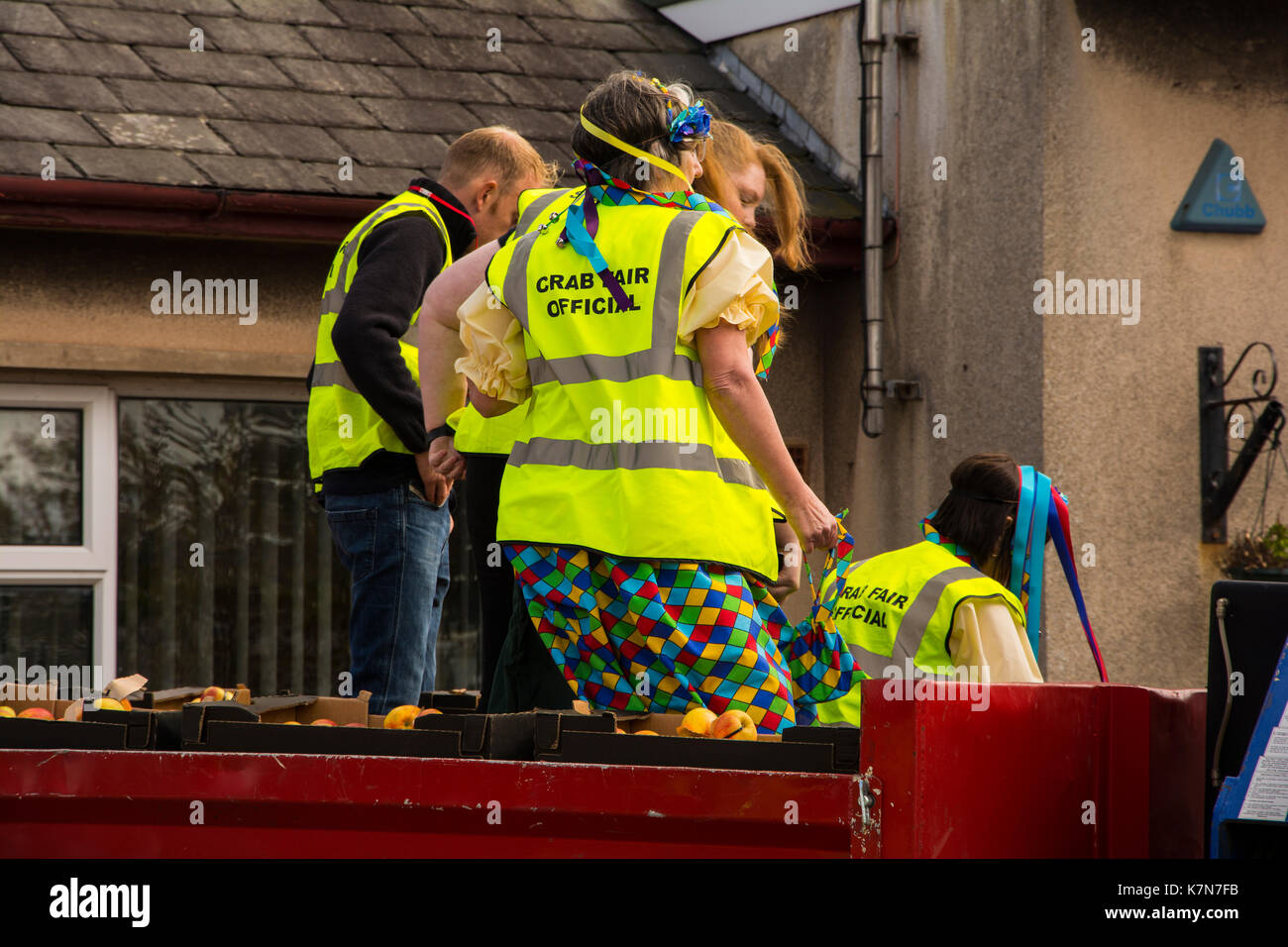 crab fair officials getting ready to throw the apples at the 750th crab fair in egremont west cumbria - Stock Image