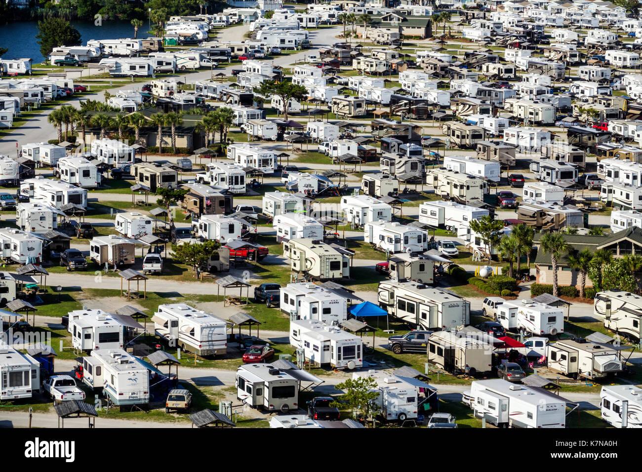Myrtle Beach South Carolina SC Myrtle Beach RV Travel Park recreational vehicles trailer caravan park campground Stock Photo