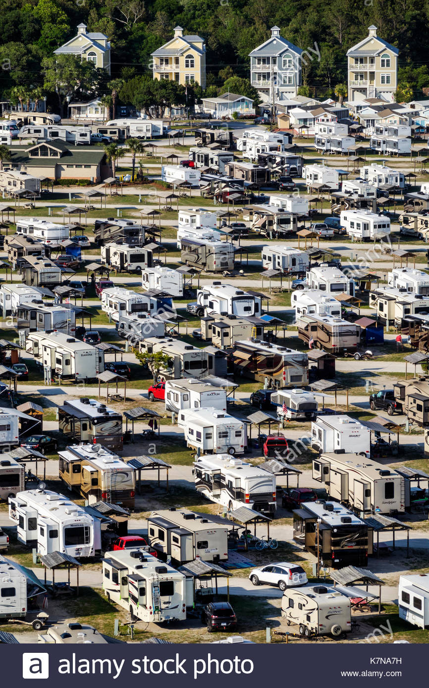South Carolina SC Atlantic Ocean Myrtle Beach Myrtle Beach RV Travel Park recreational vehicles trailer caravan Stock Photo
