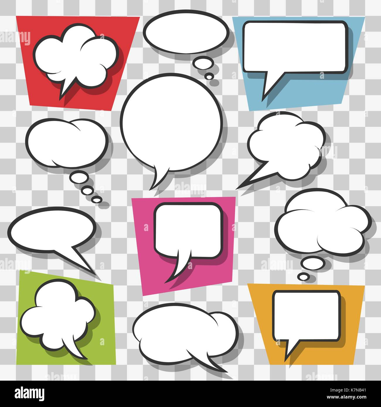 Blank speech bubbles drawn in pop art style on transparent background. Vector illustration Stock Vector