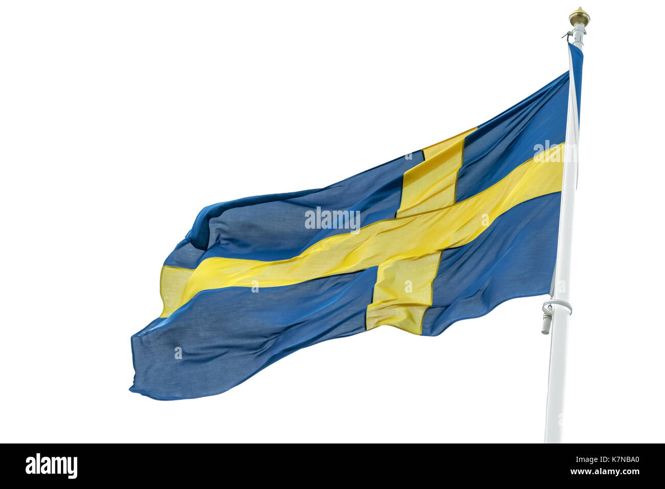 Flag of Sweden waving on a white background - Stock Image