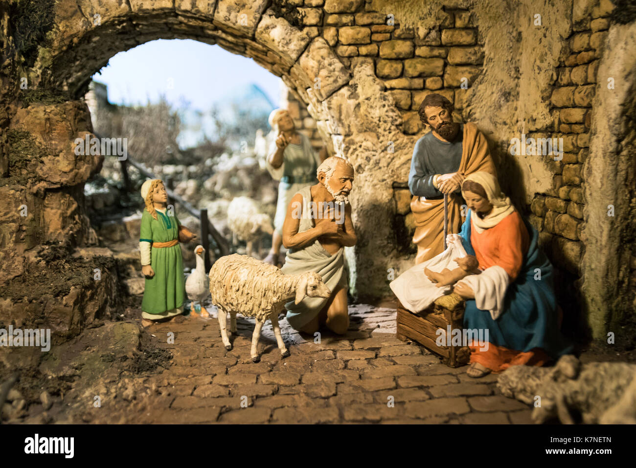Lutago, Italy - December 23, 2016: Maranatha Museum, the largest crib exhibition in Europe. Are exposed various Stock Photo