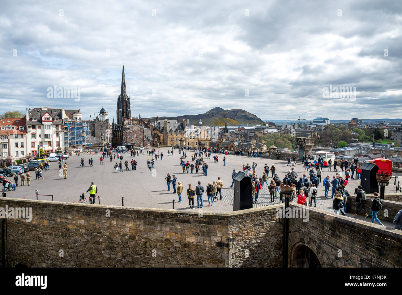 A view to Esplanade Square, Edinburgh Military Tattoo venue, from castle wall Stock Photo