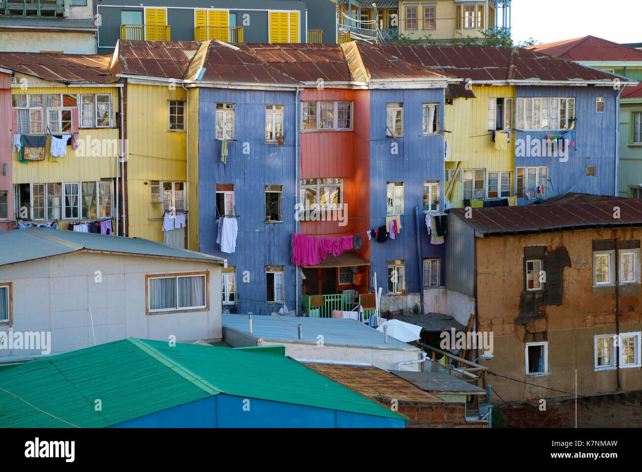 Colourful buildings in Valparaiso, Chile - Stock Image