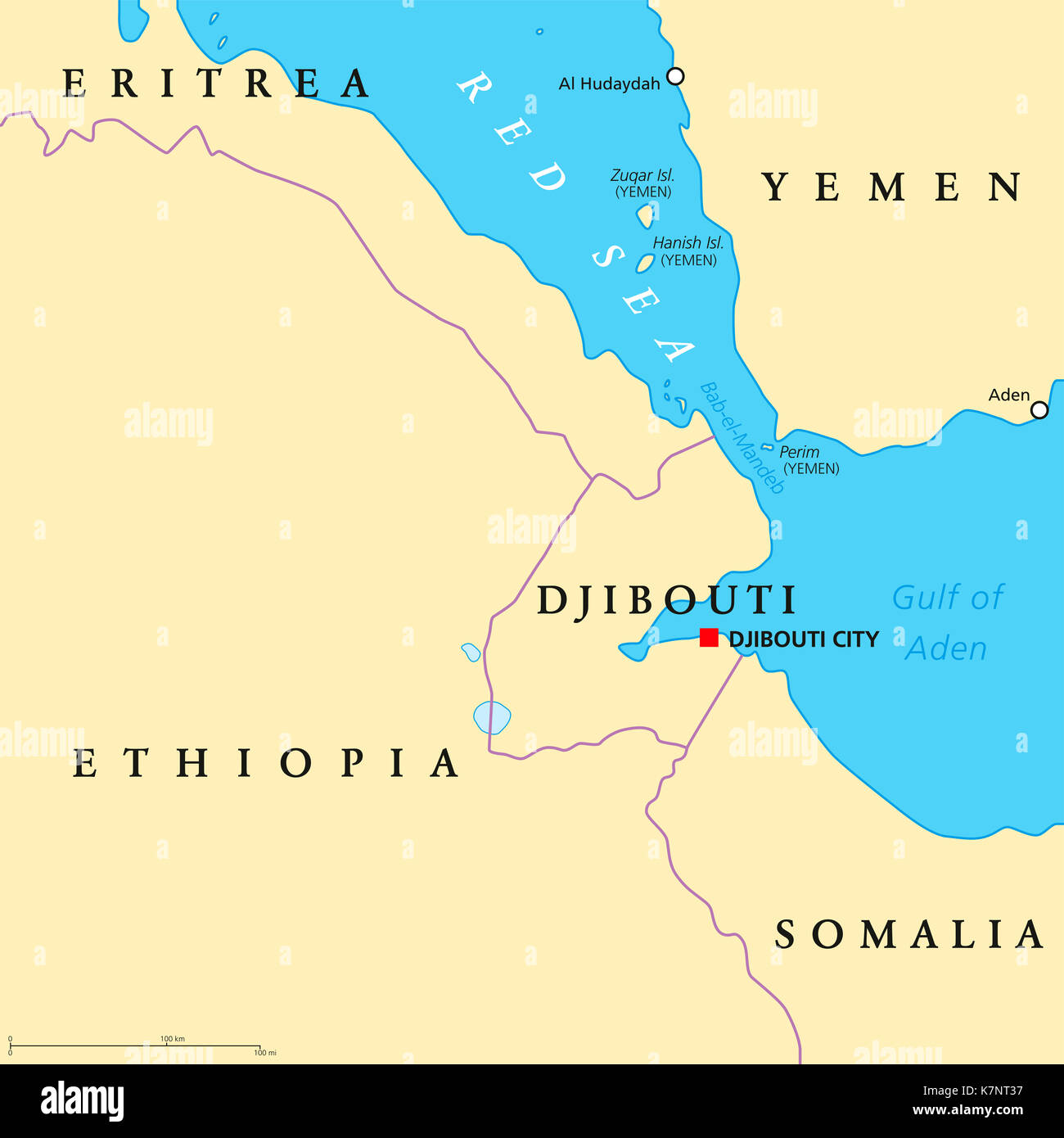Djibouti On Africa Map.Bab El Mandeb Political Map Strait Between Yemen On Arabian Stock