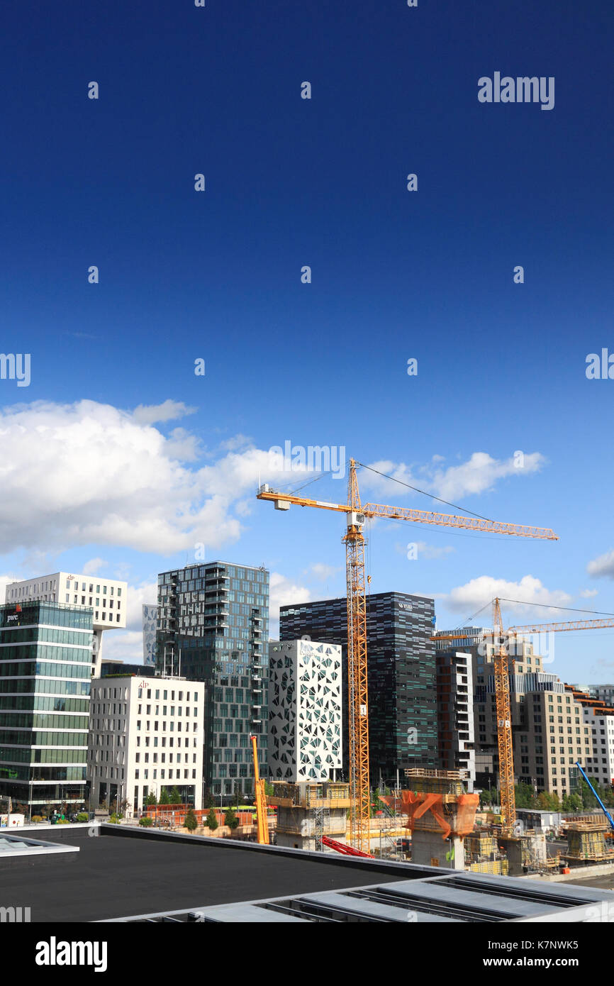 The 'Barcode buildings' in the Bjorvika district of Oslo, Norway, seen from the roof of Oslo Opera House - Stock Image