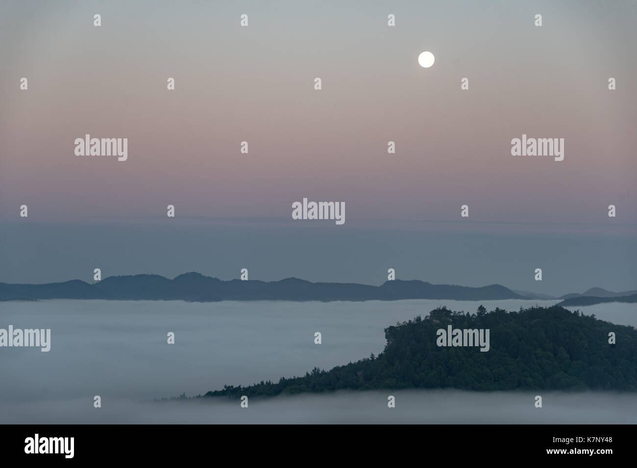 View from Lindelbrunn on a full moon night - Stock Image