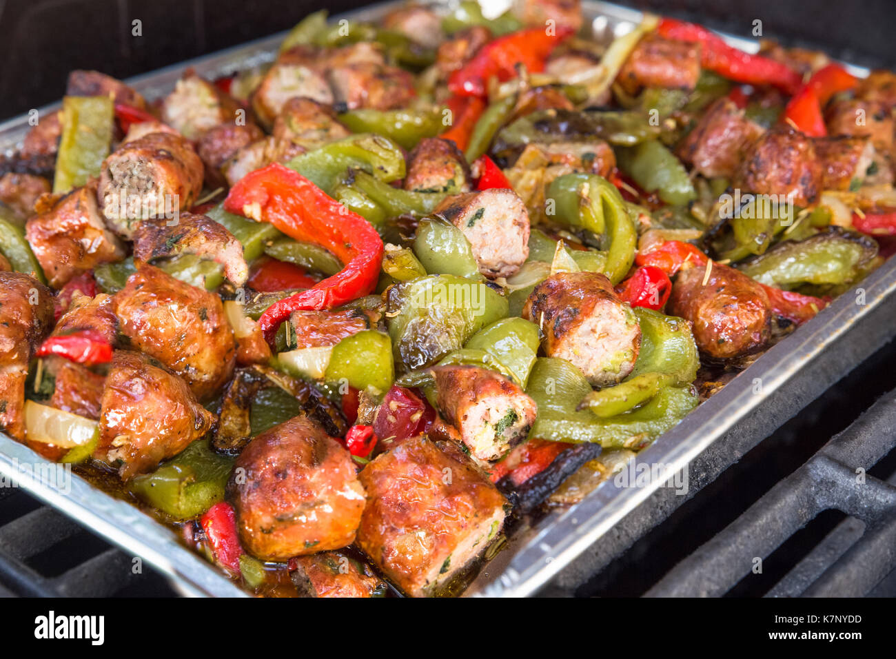 Italian cuisine of sausage and peppers - Stock Image