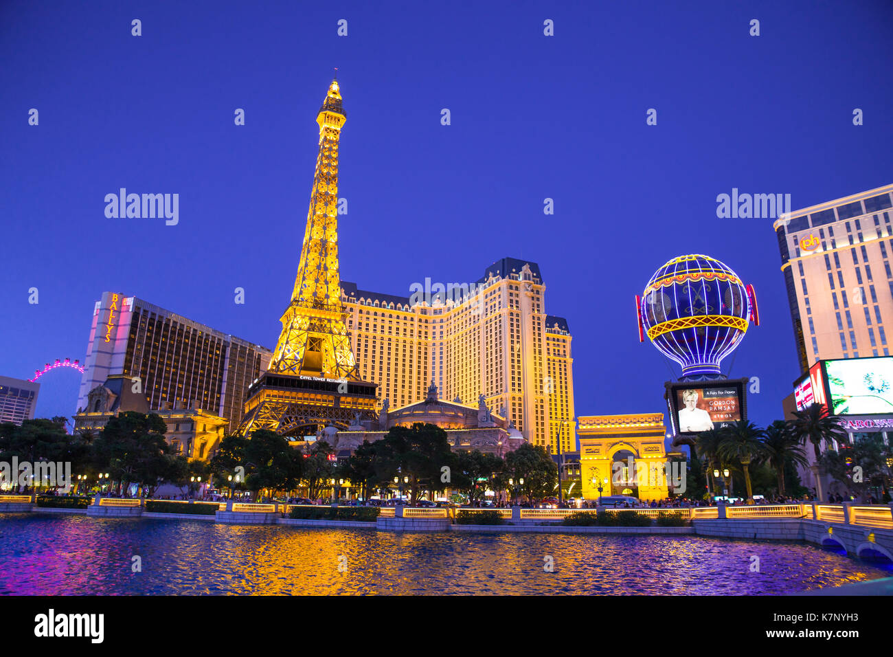 LAS VEGAS, NEVADA - MAY 17, 2017: Beautiful night view of Las Vegas with Paris Resort Casino and hotels in view. - Stock Image