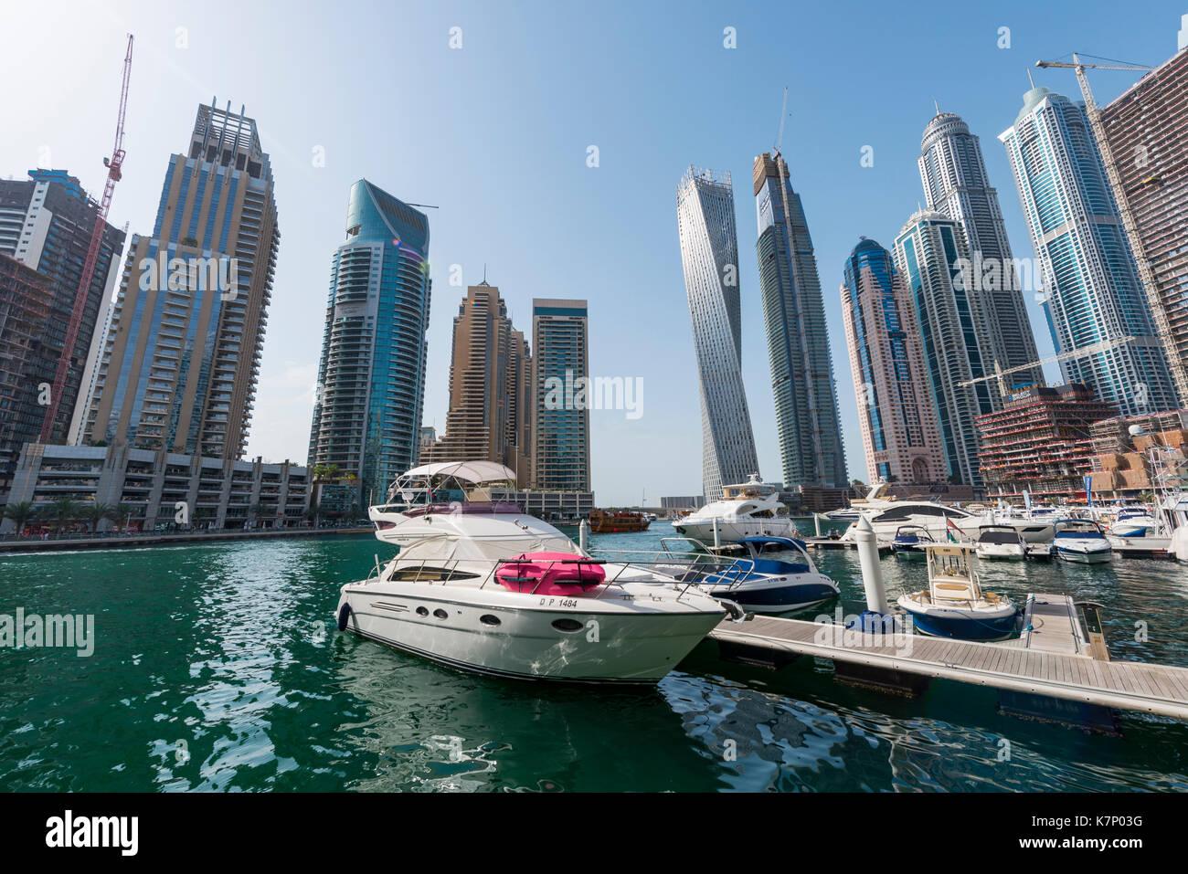 Marina in front of skyscrapers, Dubai Marina, Dubai, United Arab Emirates - Stock Image