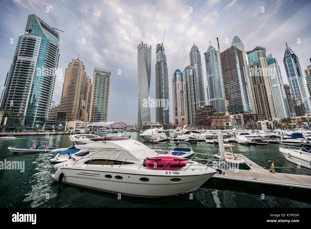 Marina in front of skyscrapers, Dubai Marina, Dubai, United Arab Emirates Stock Photo